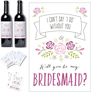 Bridesmaid Proposal Wine Label Stickers - Set of 8 Be My Bridesmaid Bridal Party Gifts | Includes 2 Maid of Honor + 6 Brid...
