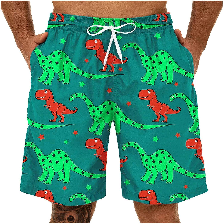YUNDAN Men's Beach Boardshorts Summer Lightweight Quick Dry Swim Trunks Bathing Suit with Side Pockets Mesh Lining XL-5XL