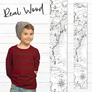 Growth Chart Art | Wooden Map Growth Chart for Kids [Boys and Girls] – Children's Room Décor Height Chart | East Coast Map White