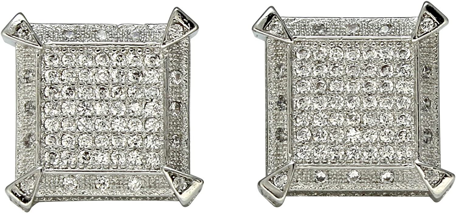 Large Square Studs 14k Gold Plated Icy Cz Hip Hop Screw Back Earrings
