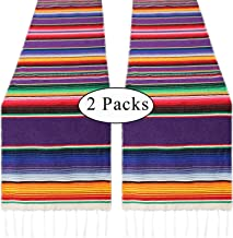 Mexican Table Runner 2 Pack 14 x 84 Inches Serape Table Runner for Mexican Party Fiesta Table Linens Wedding Decorations