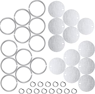 Stamping Blank Tags Set 100 Pieces 1 Inch Round with Hole Aluminum 0.06 Inch Thickness Blanks Tags, 100 Pieces 1 Inch Round Metal Key Chain Rings and 100 Pieces 0.3 Inch Split Rings