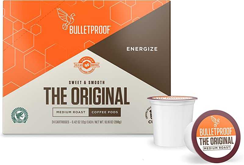 Bulletproof The Original Roast Coffee Pods Premium Medium Roast Organic Beans Single Serve K Cups Works With Keurig 2 0 24 Count