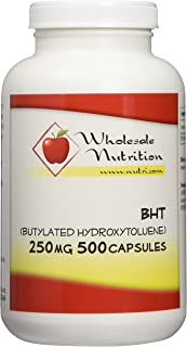BHT (Butylated Hydroxytoluene) 250mg, 500 Capsules
