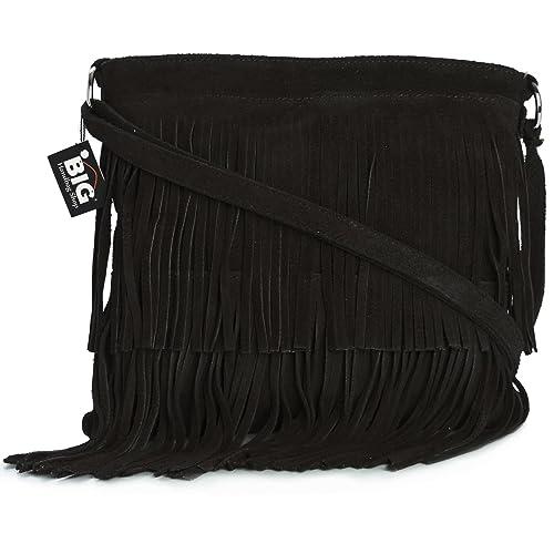 LiaTalia Womens Suede Leather Tassle Fringe Shoulder Bag (Large Size) -  Ashley a03e8b4a42