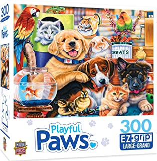 MasterPieces Playful Paws Puppy Party EZ Grip Jigsaw Puzzle, Art by Jenny Newland, 300-Piece