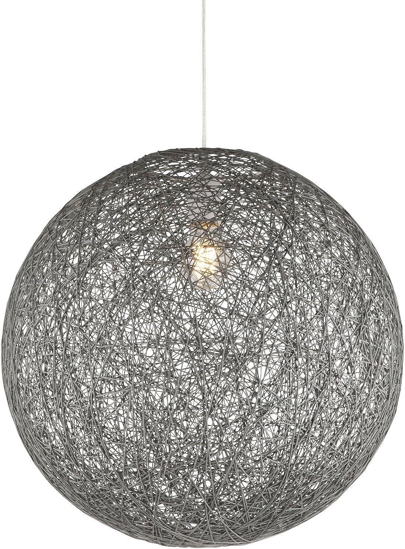 Groe Hngelampe Kugel Papier-Geflecht 1-Flammig Hngeleuchte Pendelleuchte Schlafzimmerlampe (Pendellampe, Wohnzimmerlampe, 44 cm, Hhe 130 cm, Schlammgrau)