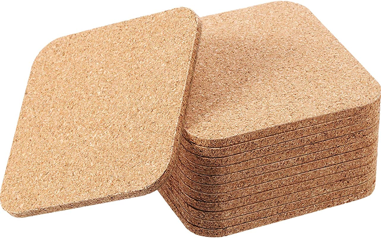 Square Wooden Thick Cork Drink Coasters For Kitchen Restaurant Home Bar Cafe Wedding Supplies 4 X 4 Inch 12 Pieces