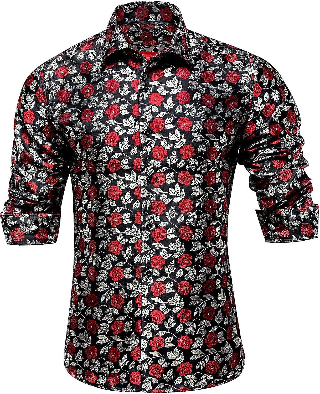 Hi-Tie Men's Woven Silk Bargain Dress Jacquard Button Down Casual Max 52% OFF Shirt