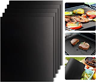 Grill Mats Set of 5-Non-Stick BBQ Grill Mat,FDA-Approved, Heavy Duty 1.94 oz/Sheet, Reusable & Easy to Clean,Suits Gas,Charcoal,Electric Grill More-15.7 × 13 inch-Extended Warranty(Black)