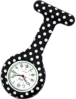 JAS Unisex Nurses Lapel Watch Silicone (Infection Control) Polka Dot - Black