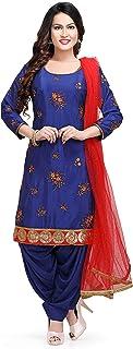 Festive Traditional Women's Patiala Suit - Kurti and Patiala Salwar - Chinnon Fabric Ethnic wear