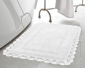 Laura Ashley Crochet Cotton 17x24 in. Bath Rug, White