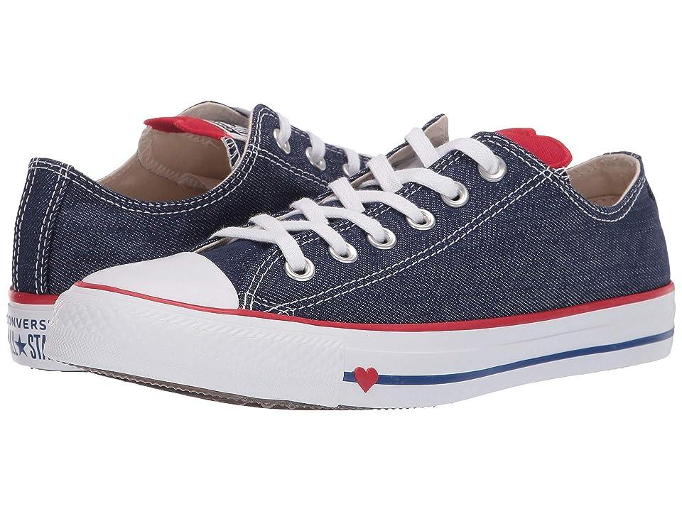 Converse Chuck Taylor(r) All Star(r) Denim Love Ox (Indigo/Enamel Red/White) Athletic Shoes