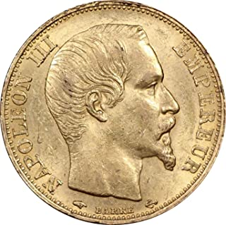 1859 France 20 Francs Gold Coin, Napoleon III, About Uncirculated Condition