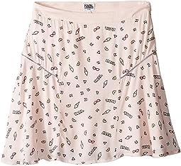 Viscose Skirt w/ All Over Ice Cream Print (Big Kids)