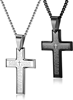 cross necklace with bible verse inside