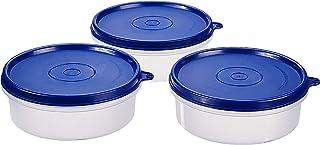Amazon Brand - Solimo Plastic Lunch Box Set, 290 ml, Set of 3, Blue