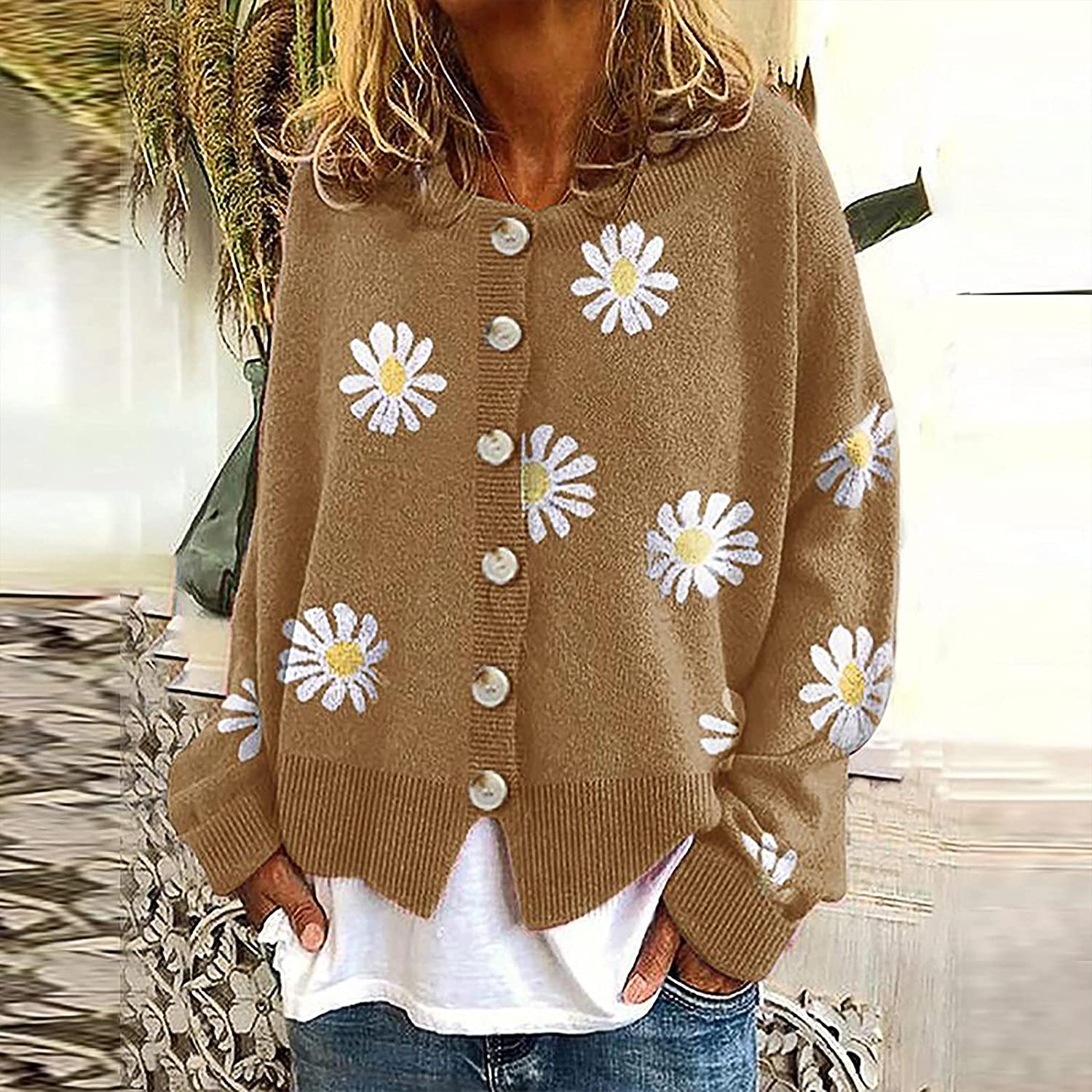Cardigan Sweaters for Women Casual Floral Printed Outerwear Long Sleeve Buttons Knitted Cardigan Coats