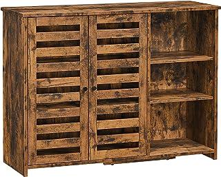 VASAGLE Meuble de rangement, Buffet, avec placard 2 portes persiennes, étagères réglables, 3 compartiments ouverts, pour s...