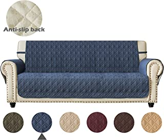 Anti-Slip Sofa Cover for Leather with Anti-Skip Dog Paw Print 100% Waterproof Quilted Furniture Protector Slipcover for Dogs, Children, Pets Sofa Slipcover for Leather Couch (Pattern1:Navy, Sofa)