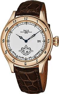 Ball - NM1098D-PGLCJWH 'Trainmaster' Reloj automático suizo con esfera blanca y correa de cuero marrón