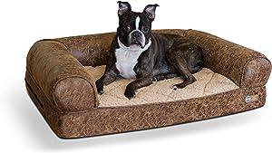 K&H PET PRODUCTS Bomber Memory Sofa Pet Bed Medium Brown 24