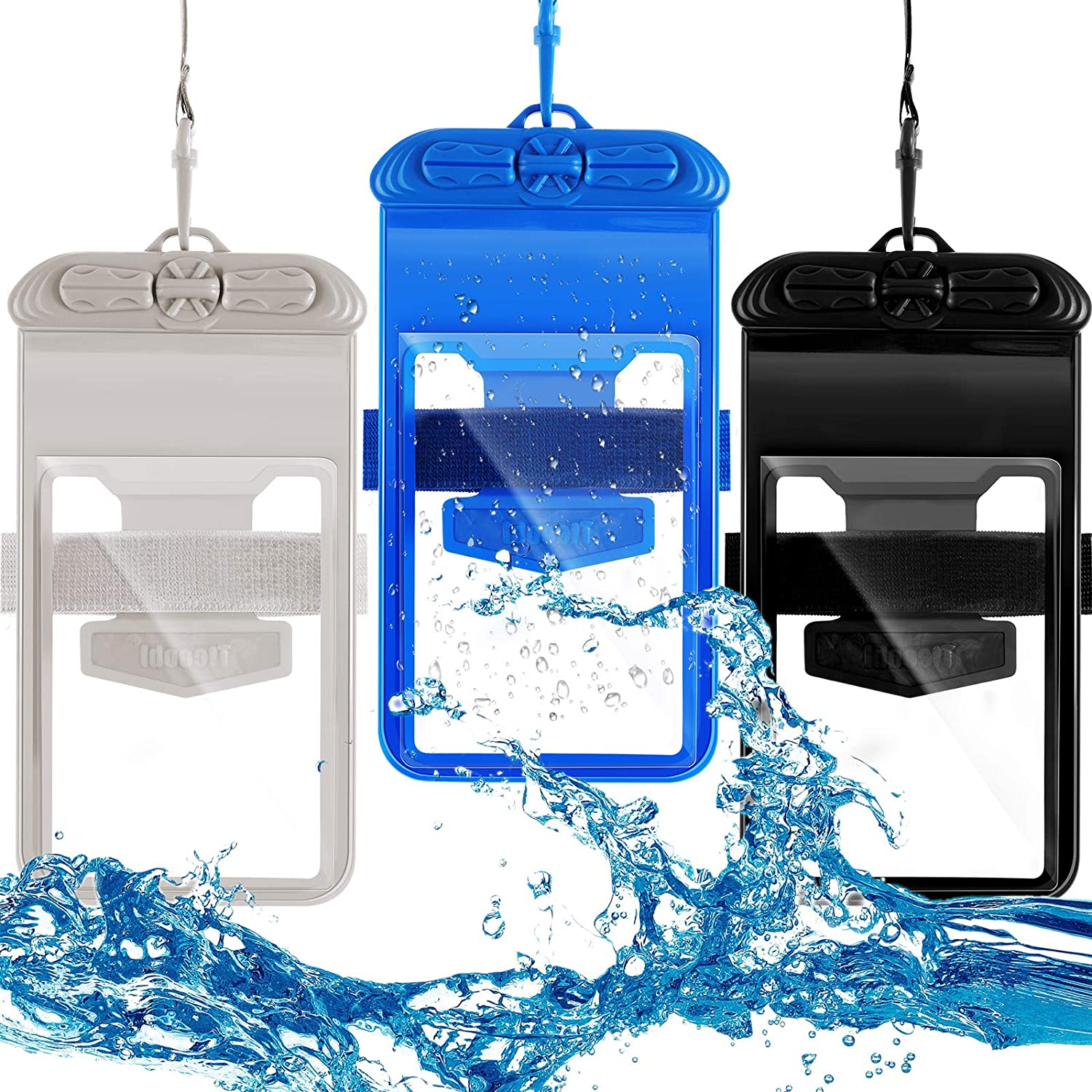 3 Pieces Universal Waterproof Case with Armband Waterproof Pouch Waterproof Cellphone Case Cellphone Dry Bag Compatible with Smartphones up to 6.89 Inch