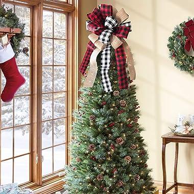 Christmas Tree Topper - Buffalo Plaid Red Black Burlap Decorative Bow - Rustic Farmhouse Xmas Decorations Home Decor - Handma