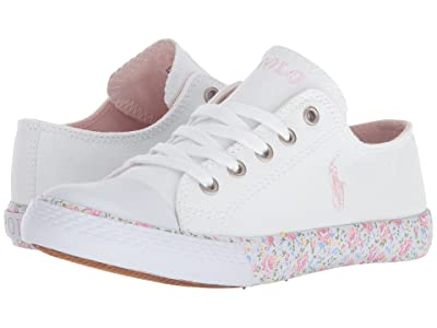Polo Ralph Lauren Kids Slone (Little Kid) (White Canvas/Light Pink Pony Player/Printed Floral Foxing) Girl
