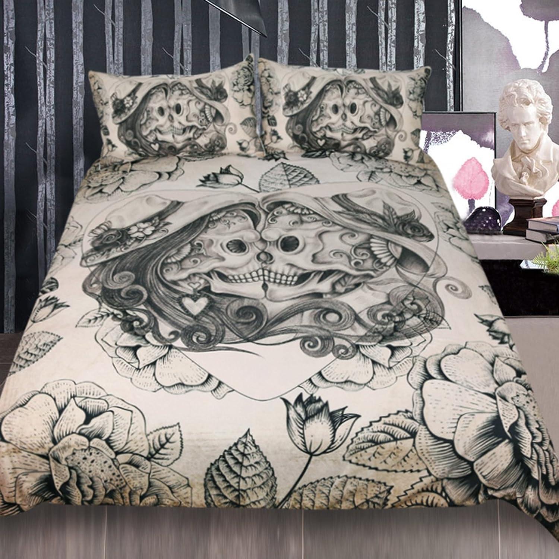 Sleepwish Vintage Skulls Bed Set Funny Skeleton pink Heart Bedding Duvet Cover Mexico Skull Bed Spreads (Gothic Skull Couple, King)