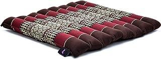 Leewadee cojín de Asiento Enrollable – Esterilla de meditación pequeña con Lazo, Almohada Suave para Interiores y Exteriores, 40 x 38 cm, marrón Rojo
