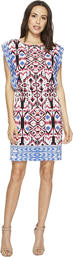 Printed Matte Jersey Round Neck Dress
