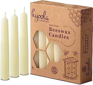 شمع های موم زنبور عسل Hyoola White Beeswax - دست شسته شده ، تزئینی ، همه نوع طبیعی ، 100٪ شمع موم زنبور عسل خالص و معطر - 12 بسته - 4 ساعت زمان سوختن