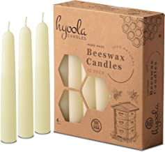Hyoola White Beeswax Taper Candles – Hand Dipped, Decorative, All Natural, 100% Pure Scented Bee Wax Candle - 12 Pack - 4 ...
