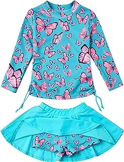 swimsobo Girls Swimsuits Rashguard 2-Pieces Long Sleeve Bathing Suit 3-10T