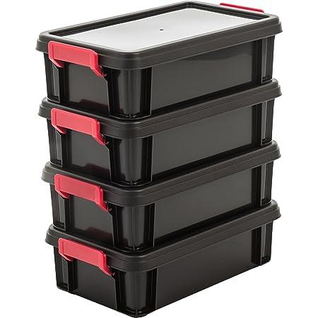 Amazon Basics 102784 Lot de 4 boîtes de Rangement empilables avec Couvercle Multi Box, Plastique, Noir, 4 Litres