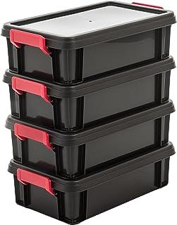 Amazon Basics 102784 Lot de 4 Boîtes de Rangement Empilables avec Couvercle, Plastique, Noir, 4 Litres