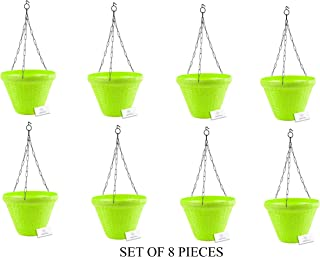 Unique Plastic Hanging Pot with Metal Chain (Green, Pack of 8)