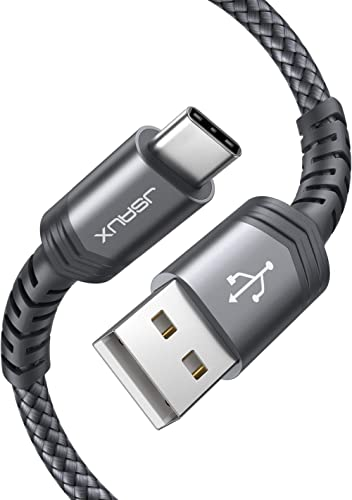 USB Type C Cable 3A Fast Charging [2-Pack 10ft], JSAUX USB-A to USB-C Charge Braided Cord Compatible with Samsung Gal...