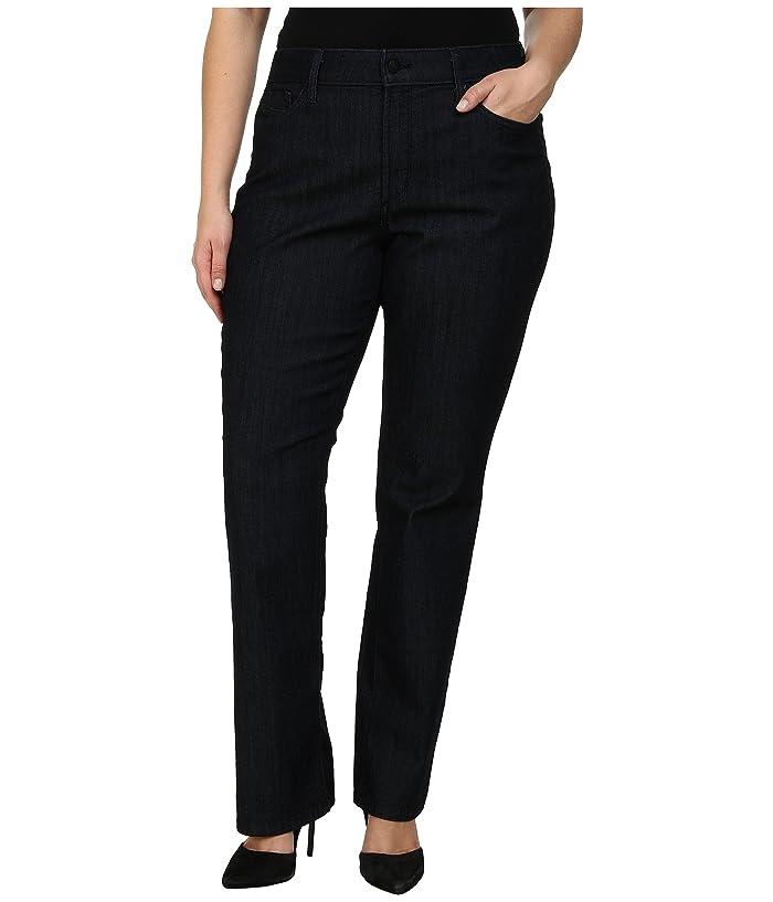 NYDJ Plus Size Plus Size Marilyn Straight Tonal Stitching in Dark Enzyme (Dark Enzyme) Women's Jeans