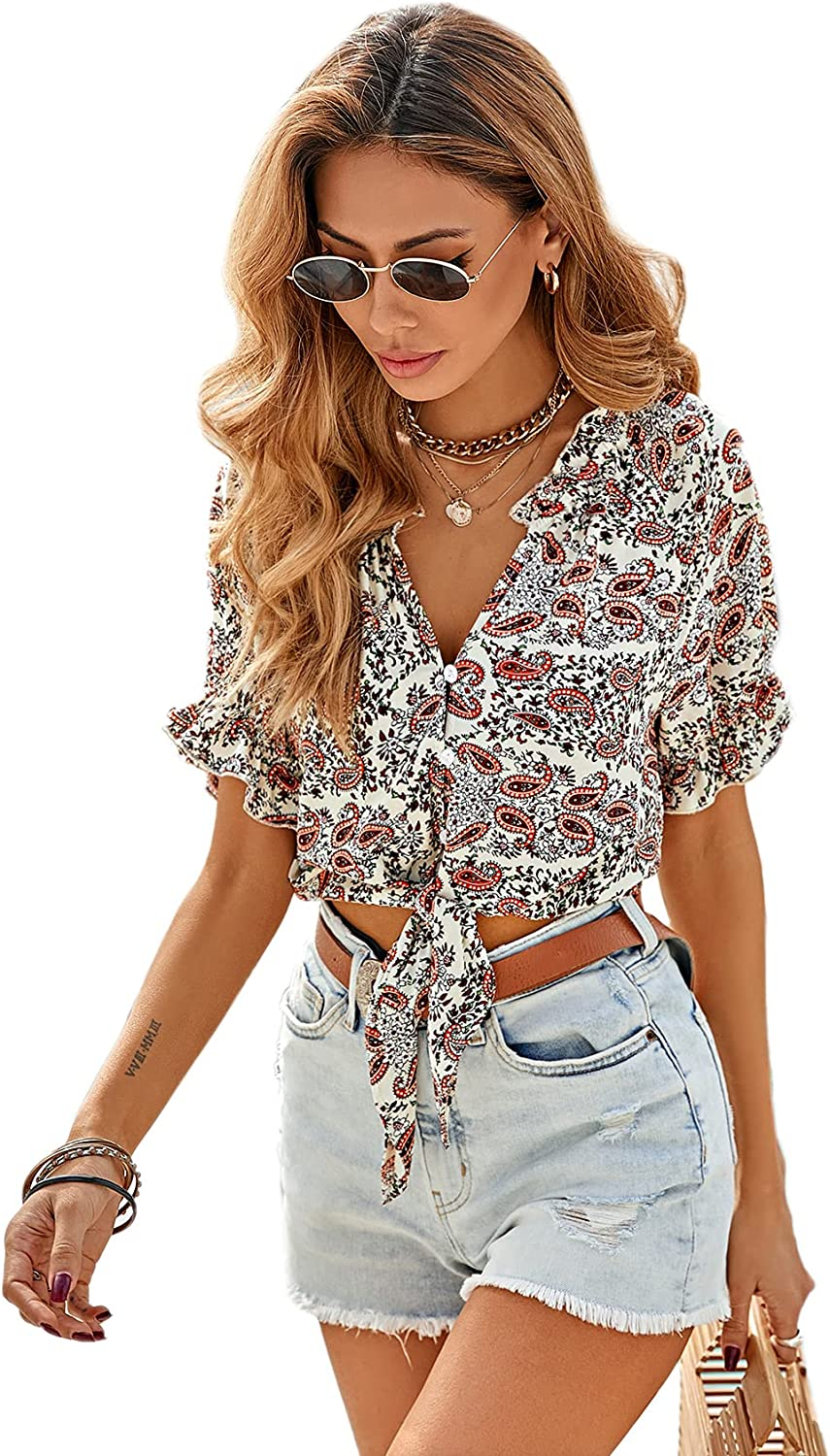 SweatyRocks Women's V Neck Tie Front Floral Print Button Front Short Sleeve Blouse Top
