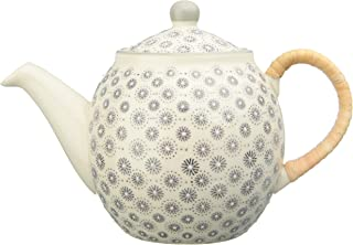 Bloomingville Cream Stoneware Grey Hand-Stamped Pattern and Rattan Wrapped Handle Teapot