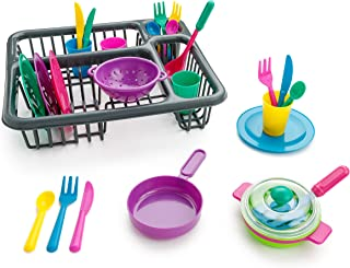 Playkidz: Super Durable Kids Play Dishes - Pretend Play Childrens Dish Set - 27 Piece with Drainer