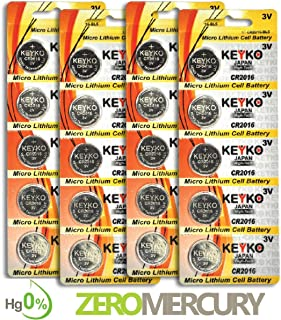 CR2016 Battery - 20 pcs Pack - 3V Lithium Buttom Coin Cell Battery Type 3.0 Volt: 2016 DL2016 ECR2016 Genuine KEYKO Supreme High Energy