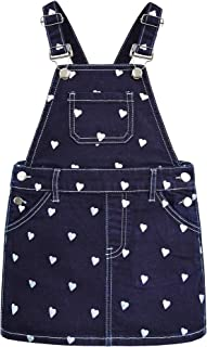 Kidscool Girls Pure Color with Little heartshape Jeans Overalls Dress