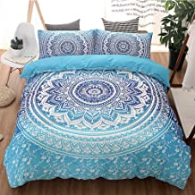 Duvet Cover Superfine Fiber Home Textile Queen Bed Double Bedroom Dorm Room Adult Bedding with Pillowcase*2 Boho Light Blu...