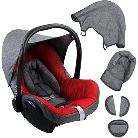 Bambiniwelt Ersatzbezug Für Maxi Cosi Cabriofix 6 Tlg Grau Rot Bezug Für Babyschale Komplett Set Xx Baby