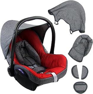 BAMBINIWELT Ersatzbezug für Maxi Cosi CabrioFix 6 tlg. GRAU/ROT, Bezug für Babyschale, Komplett Set XX