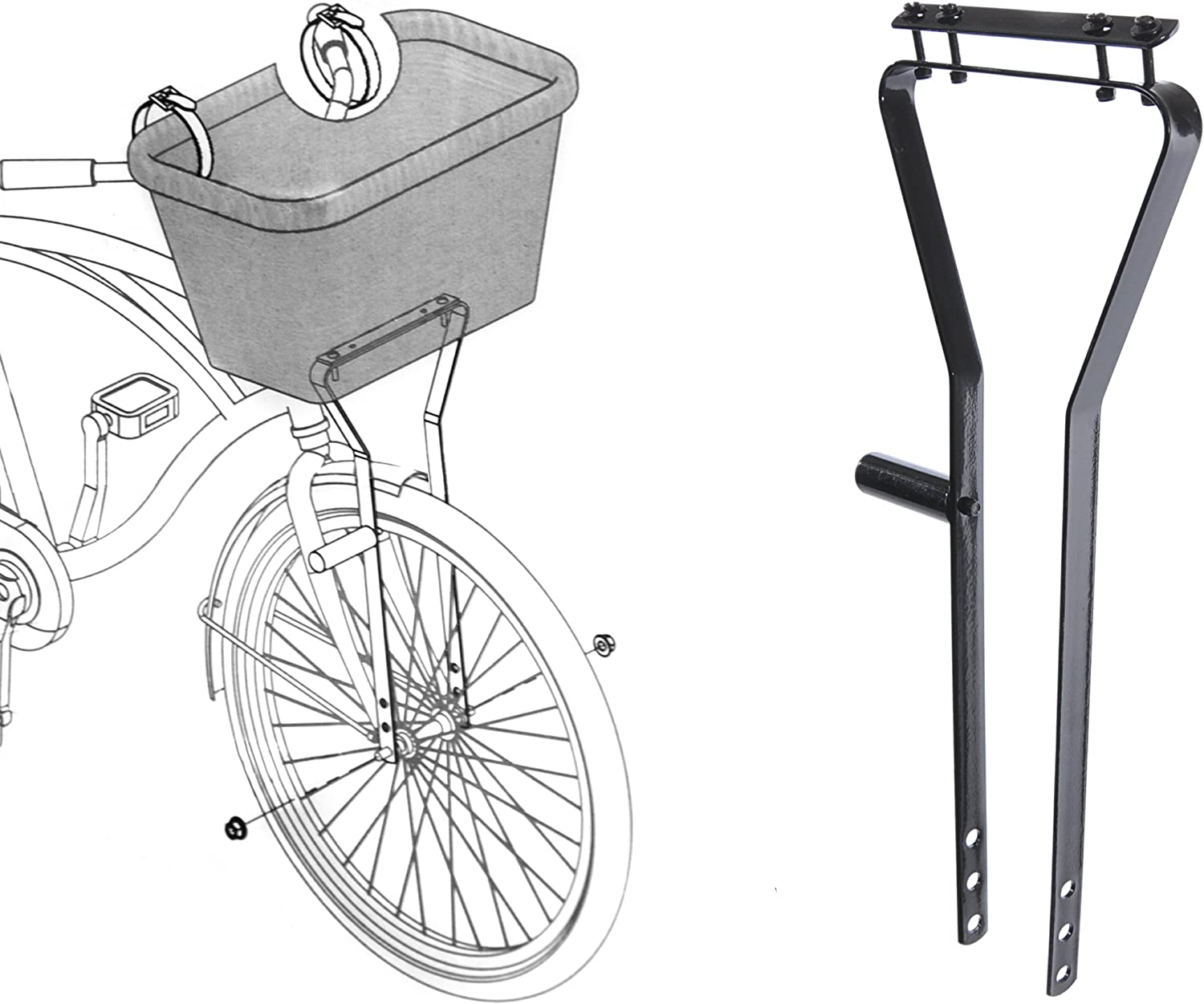 AMMACO CYCLE BIKE BICYCLE BASKET METAL FRAME SUPPORT FOR WIRE OR WICKER BASKETS by Ammaco